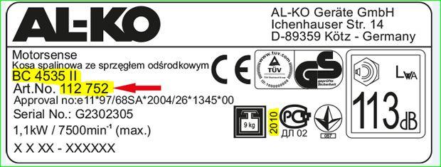 étiquette constructeur d'une machine Alko