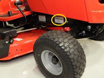 étiquette constructeur d'un tracteur tondeuse Murray / Simplicity / Snapper